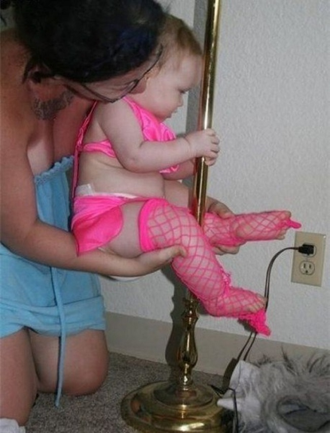 Baby Pole Dancer Costume-15 Disgusting Kids Halloween Costumes Ever