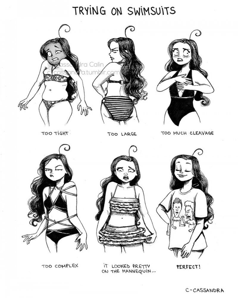 Finding the Perfect Swimsuit-15 Comics That Perfectly Illustrate Everyday Struggles Of A Woman