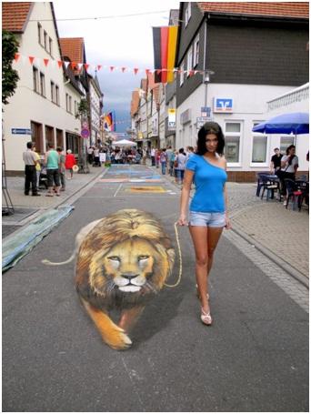 Walk The Lion-Amazing 3D Street Art