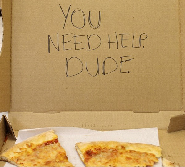 """You Need Help Dude-Funny """"Special Request"""" Pizza Box Drawings"""