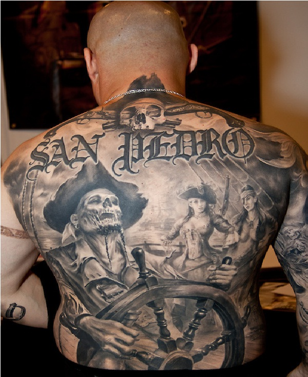 Skeleton captain-Pirate Tattoos