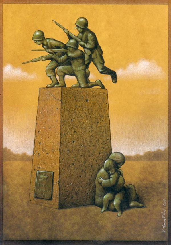 The different sides to war-Thought-Provoking Satirical Illustrations By Pawel Kuczynski