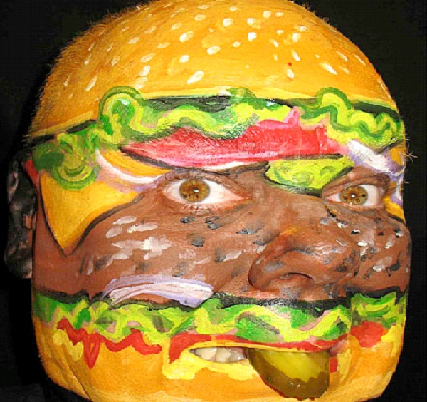 Burger Face-Most Incredible Face Paintings
