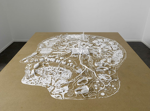 Complex head-Papercut Sculptures From Single Sheet Of A4