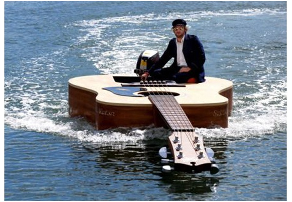 Guitar-Shaped Boat-Surprising And Unusual Things Shaped Like A Guitar
