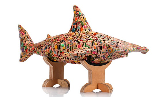 Shark board-Beautiful Sculptures Made Out Of Skateboards By Haroshi