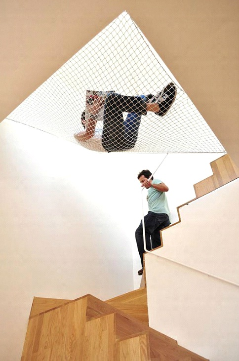 Over Stairs Hammock-Awesome Home Interior Designs Ever
