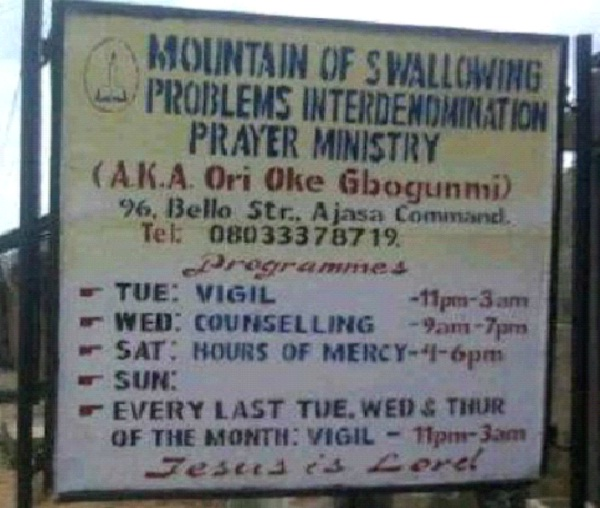Mountain of Swallowing Problems Interdenomination Prayer Ministry-Bizarre Church Names