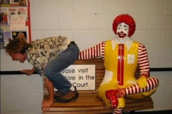 Farting On Ronald McDonald-Strange People At McDonalds