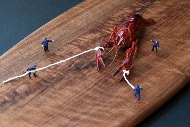 Tie the lobster down!!-Adventures Of Tiny People In The World Of Food