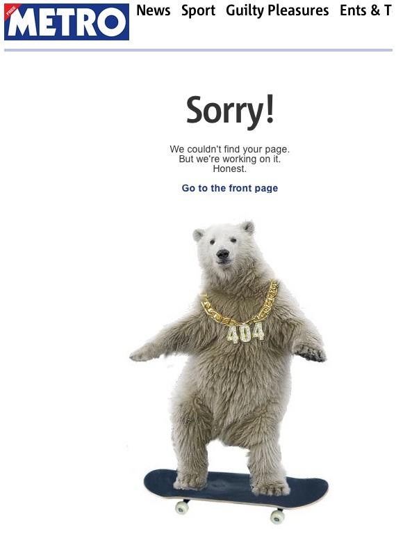 A skateboarding polar bear?-Funny Website Error Messages
