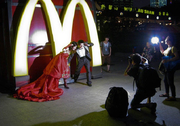 Over the top?-Pics Of People Getting Married In McDonalds