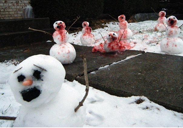 A murder scene-Craziest Snowmen Ever