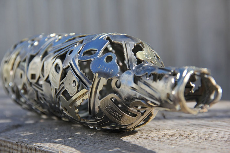 Wine Bottle Made out of Keys-15 Beautiful Items That Are Carved Out Of Scrap