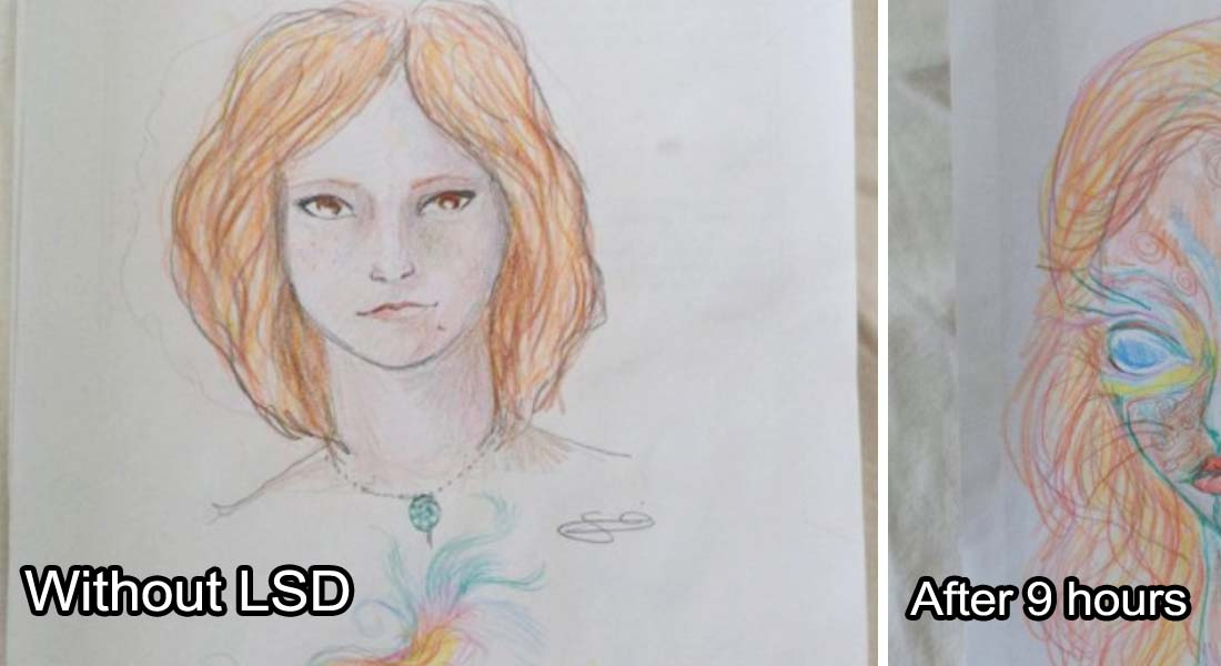 A Woman Draws Her Self Portraits During Her First Acid Trip