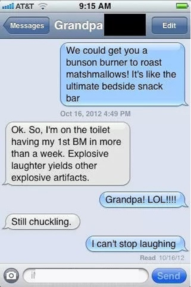 Explosive Laughter Yields Explosive Artifacts-15 Hilarious Texts From Grandparents