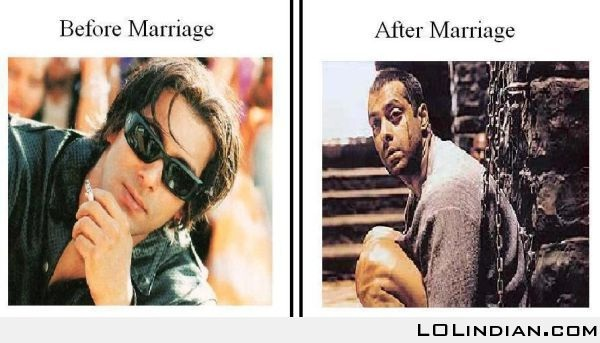 Tied down-12 Hilarious Before And After Marriage Pictures