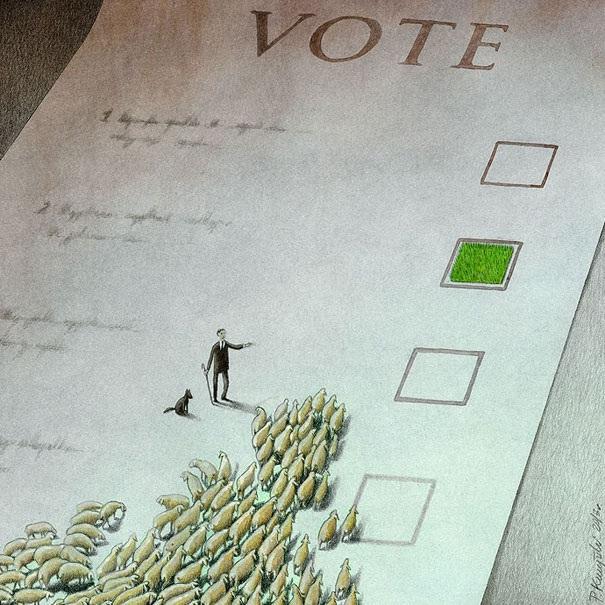 Vote like sheep-Thought-Provoking Satirical Illustrations By Pawel Kuczynski
