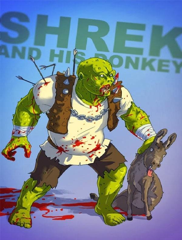 Bad Shrek-Bad Versions Of Popular Cartoon Characters