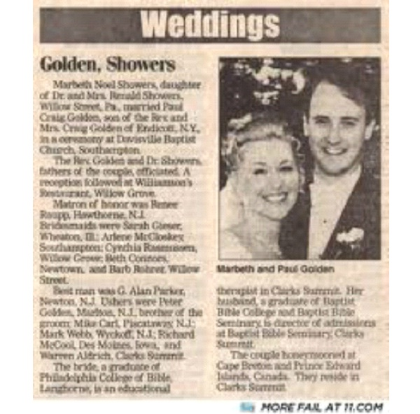 Golden Showers-12 Funniest Wedding Last Name Combinations Ever