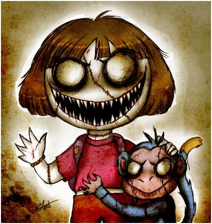 Dora The Explorer Zombie-Zombified Faces Of Famous Cartoons