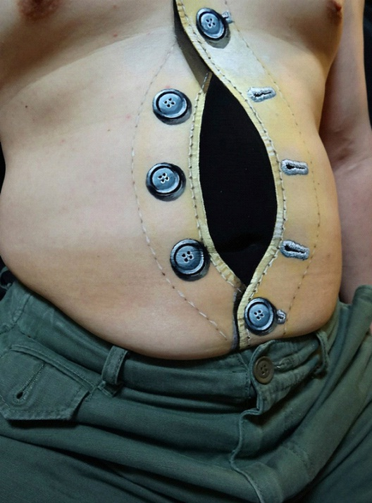 Unbuttoned-24 Most Amazing Illusion Tattoos