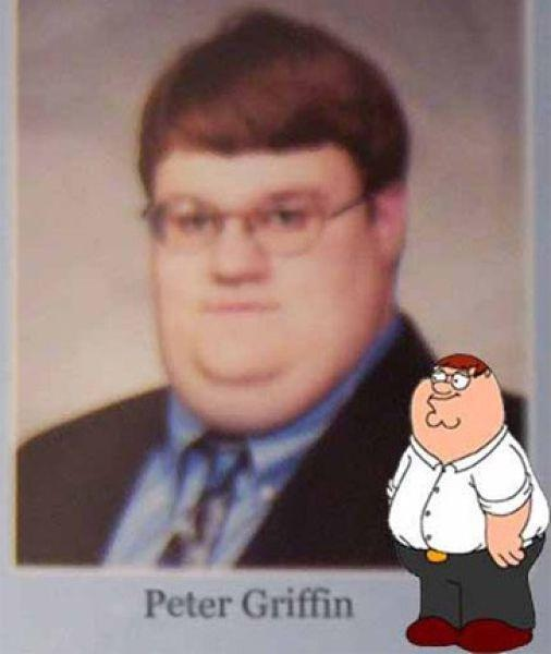 Peter Griffin-Cartoon Characters & Their Real Life Counterparts
