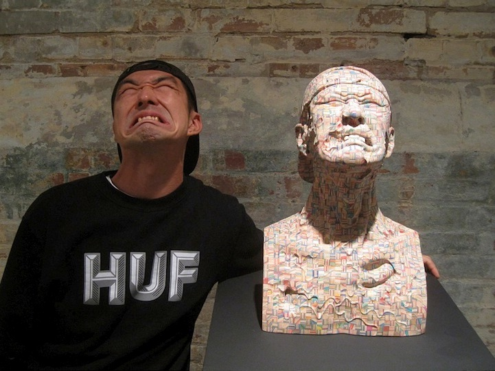 The Straining Bust-Beautiful Sculptures Made Out Of Skateboards By Haroshi