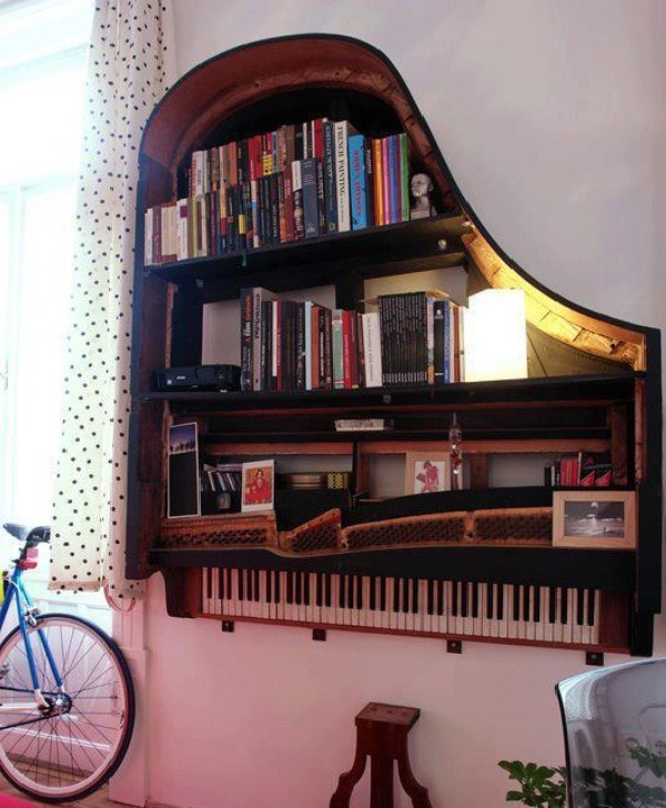 Piano-Creative Bookshelf Ideas