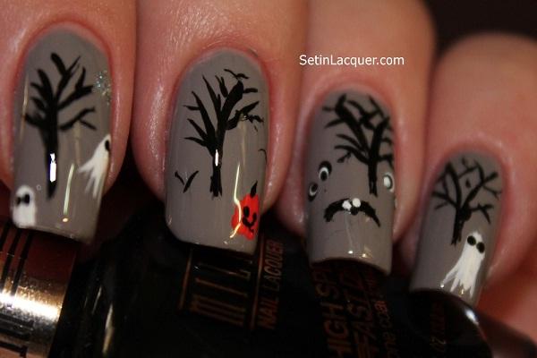 Spooky trees-Halloween Nail Art