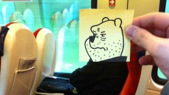 Angry Pooh-Amazing Pics Of Train Passengers With Cartoon Heads By October Jones