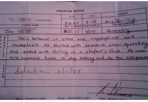 Fart on cue-12 Funniest Detention Slips Ever