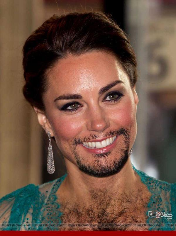 Kate Middleton-24 Hilarious Female Celebrities With Beard Photos