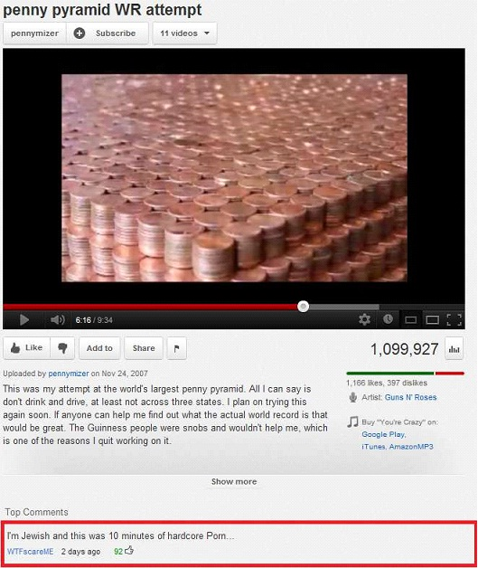 Penny Pyramid-Most Hilarious YouTube Comments