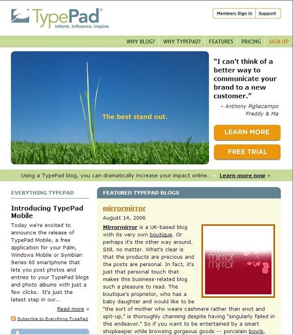 Typepad.com-Best Sites To Start A Free Blog