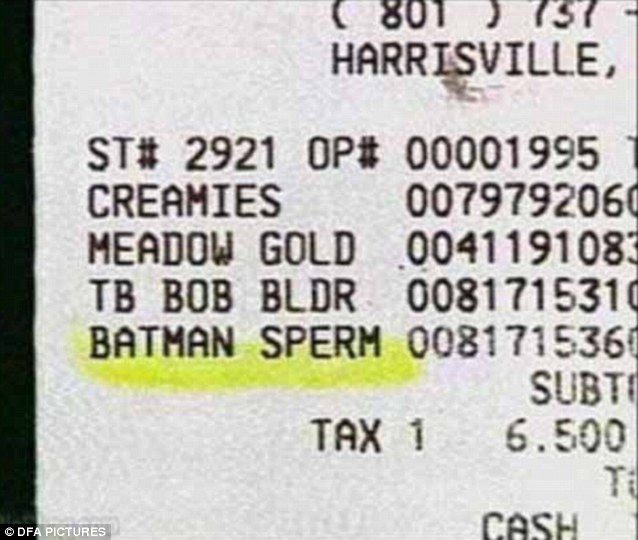 Superhero sperm-Funniest Receipts Of All Time