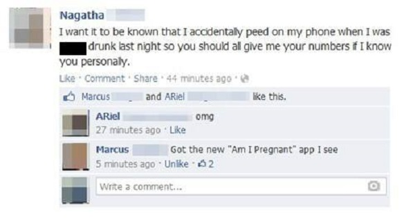 She Threw the Phone Away?-15 Hilarious Facebook Drunk Posts