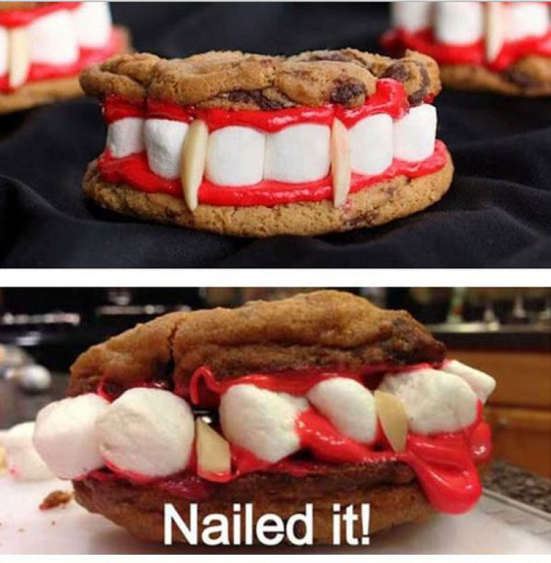 Vampire Teeth Cookies-15 Funniest Halloween Recipe Fails