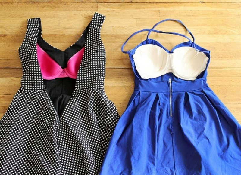 Sew Bra Cups into the Inside Part of a Backless Dress for Support-12 Bra Hacks You Probably Don't Know