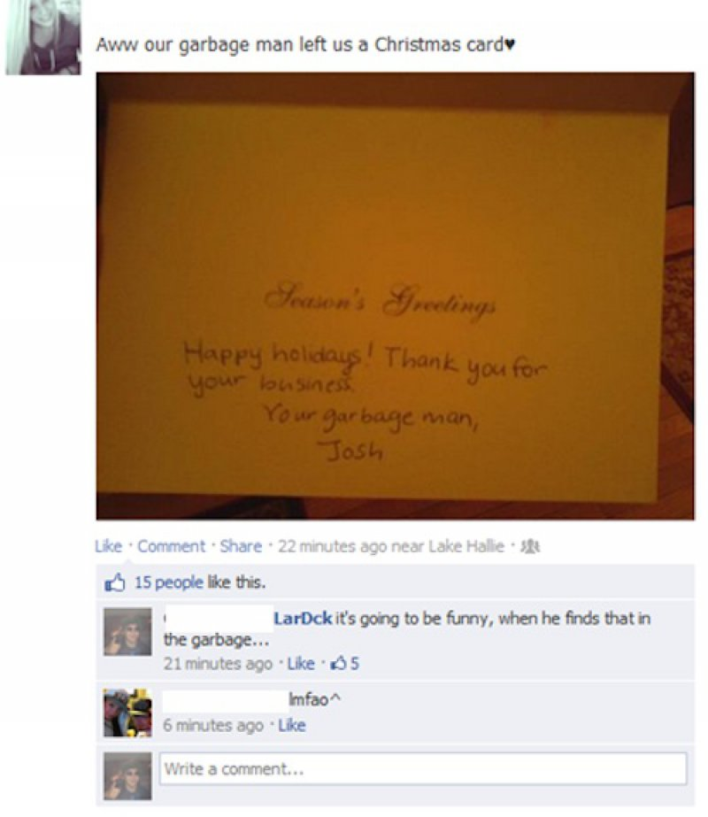 This Garbage Man's Christmas Card! -15 Hysterical Facebook Photo Comments Ever