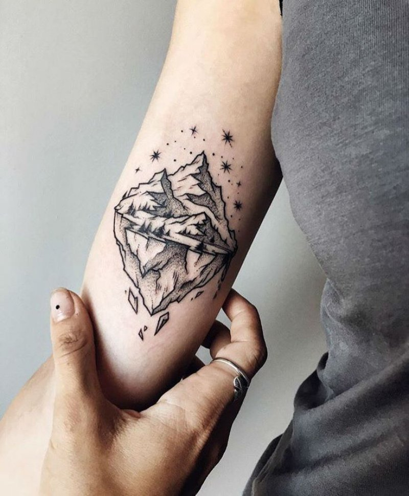 A Mountain With Its Base Visible-12 Impressive And Inspiring Mountain Tattoos