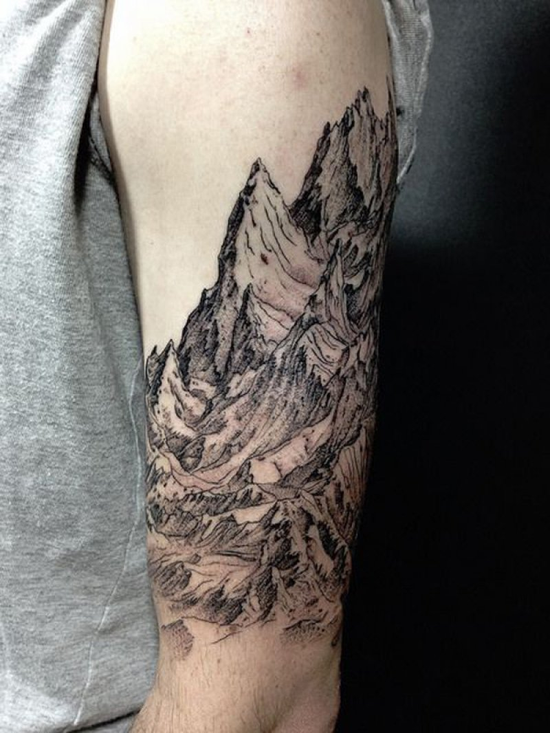 A Sleeve Mountain Tattoo-12 Impressive And Inspiring Mountain Tattoos