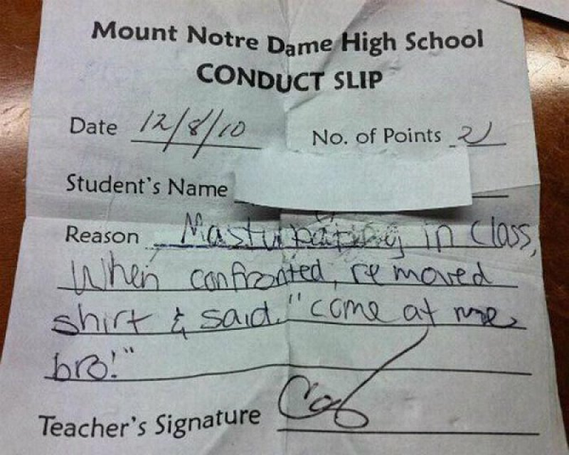 A Step Too Far-12 Funniest Detention Slips Ever