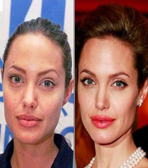 Angelina Jolie-15 Celebrities With And Without Makeup