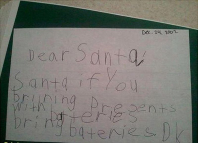Bring Batteries-12 Hilarious Letters Ever Written To Santa Claus