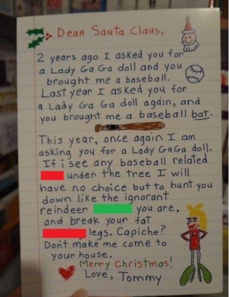 Gimme Lady Gaga Santa!-12 Hilarious Letters Ever Written To Santa Claus