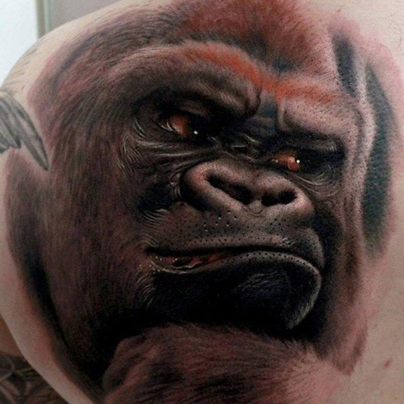 Gorilla 3D Tattoo-15 Fantastic Three Dimensional Tattoos That Will Blow Your Mind