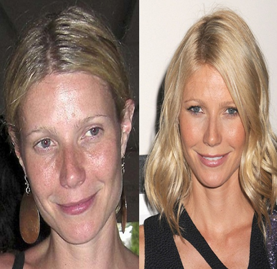 Gwyneth Paltrow-15 Celebrities With And Without Makeup