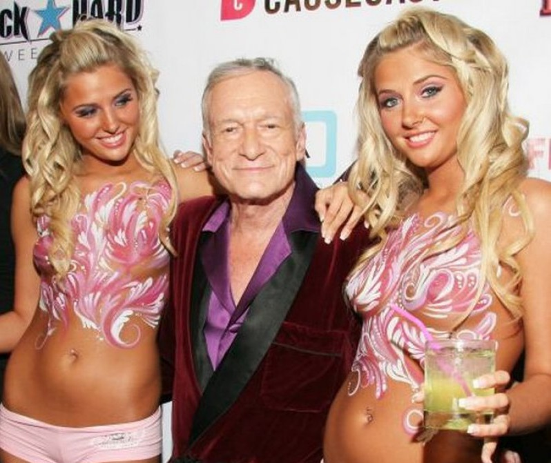 Hugh Hefner, Kristina And Karissa Shannon Twins-12 Famous Hugh Hefner Hookups Ever