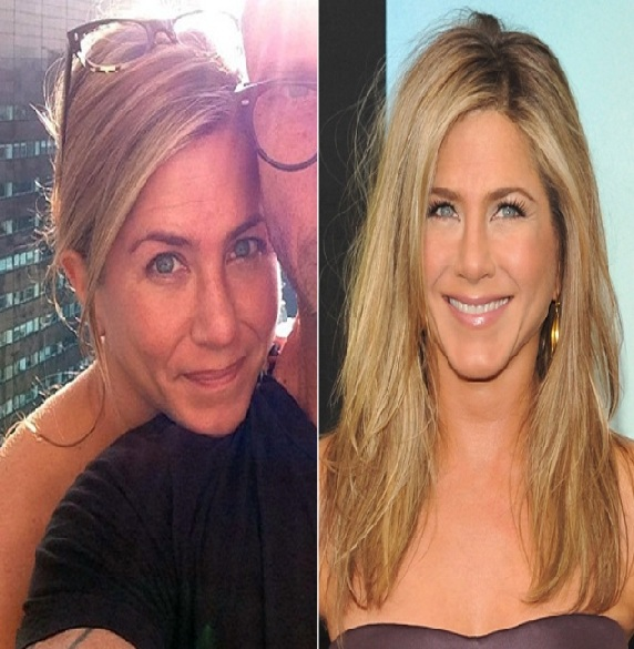 Jennifer Aniston-15 Celebrities With And Without Makeup